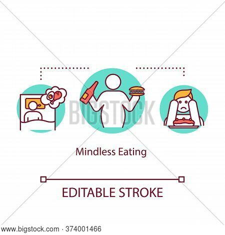 Mindless Eating Concept Icon. Unhealthy Nutrition, Overeating Idea Thin Line Illustration. Late Nigh