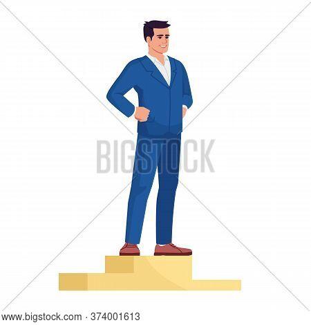 Businessman Top Positions Semi Flat Rgb Color Vector Illustration. Successful Entrepreneur On Podium