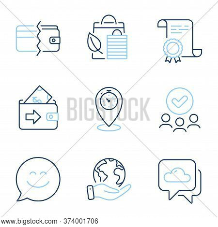 Smile Chat, Bio Shopping And Payment Methods Line Icons Set. Diploma Certificate, Save Planet, Group