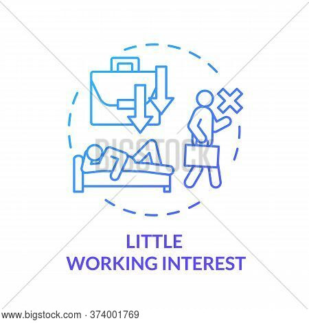 Little Working Interest Blue Concept Icon. Emotional Exhaustion. Lazy Man. Tired And Unhappy Employe