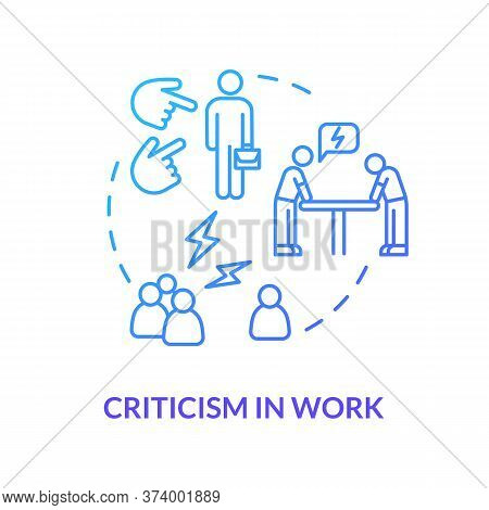 Criticism In Work Blue Concept Icon. Overwhelmed Secretary. Negative Feedback. Toxic Situation. Rude