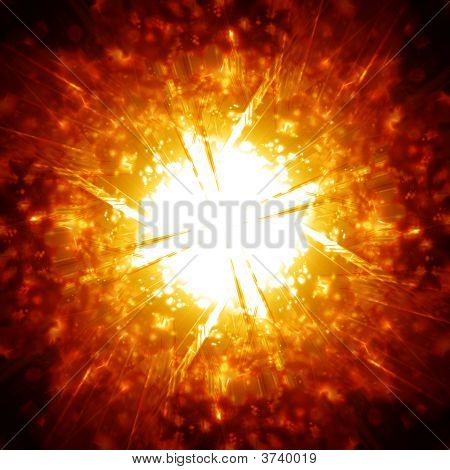 Explosion with glitters on a dark background poster