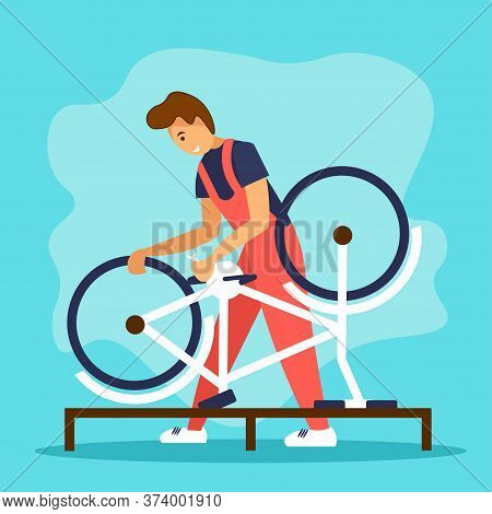 Serviceman Repairing A Bicycle In Bike Workshop. Bicycle Repair Service Concept.