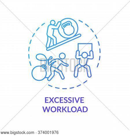 Excessive Workload Blue Concept Icon. Multitasking At Work. Overwhelmed Workaholic. Desperate Clerk.