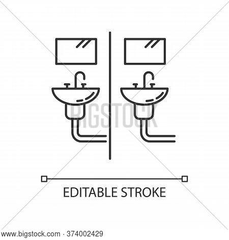 Communal Bathroom Pixel Perfect Linear Icon. Bathing Arrangement. Common Washbasins. Shared Bath. Th