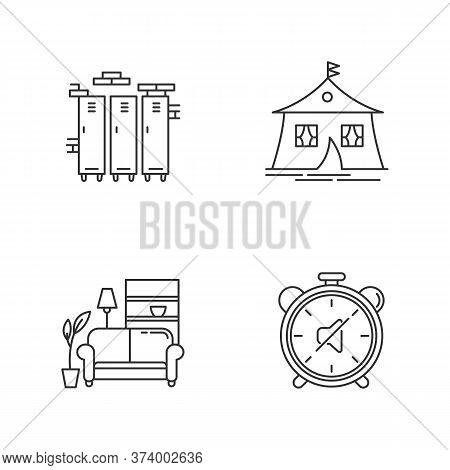 Dormitory Conditions Pixel Perfect Linear Icons Set. Gym, Swimming Pool Storage Closets. Marquee Ten