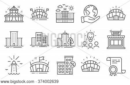Set Of Buildings Icons, Such As Lighthouse, University Campus. Diploma, Ideas, Save Planet. Arena St