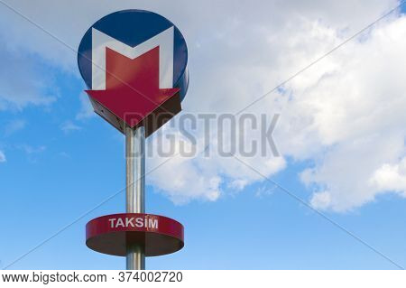 Istanbul, Turkey - October 6, 2019: Emblem Sign Of Metro In Istanbul On Blue Sky Background. Install