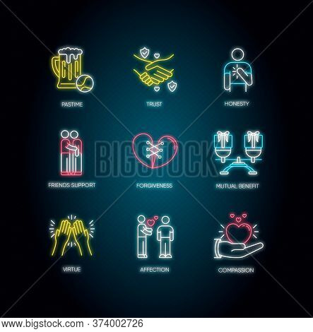 Friends Relationship Neon Light Icons Set. Signs With Outer Glowing Effect. Social Connection, Stron