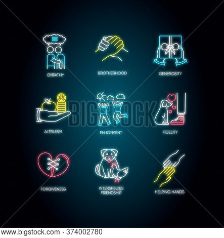 Friendship And Support Neon Light Icons Set. Signs With Outer Glowing Effect. Best Friends Connectio