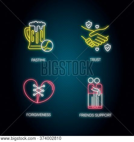 Best Friends Neon Light Icons Set. Signs With Outer Glowing Effect. Strong Interpersonal Bond, Frien
