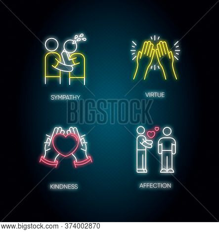 Social Connection Neon Light Icons Set. Signs With Outer Glowing Effect. Interpersonal Relationship,
