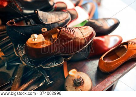 leather shoes in a workshop