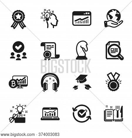 Set Of Education Icons, Such As Web Analytics, Check Article. Certificate, Approved Group, Save Plan