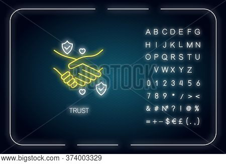 Trust Neon Light Icon. Outer Glowing Effect. Sign With Alphabet, Numbers And Symbols. Friendship, Re