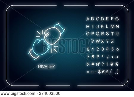 Rivalry Neon Light Icon. Outer Glowing Effect. Sign With Alphabet, Numbers And Symbols. Friendly Con