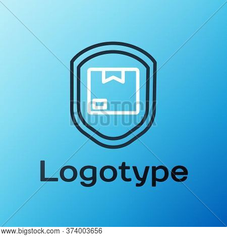 Line Delivery Pack Security With Shield Icon Isolated On Blue Background. Delivery Insurance. Insure