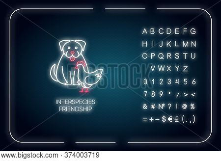 Interspecies Friendship Neon Light Icon. Outer Glowing Effect. Sign With Alphabet, Numbers And Symbo