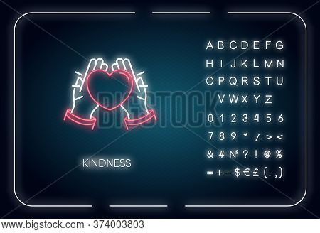 Kindness Neon Light Icon. Outer Glowing Effect. Sign With Alphabet, Numbers And Symbols. Emotional A