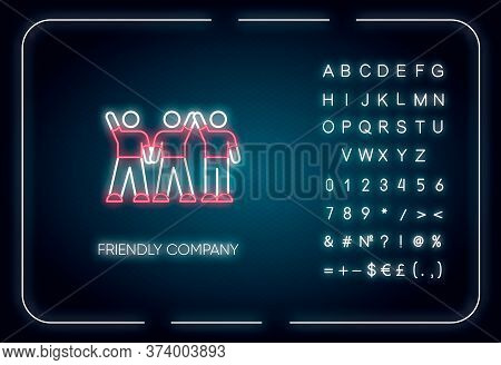 Friendly Company Neon Light Icon. Outer Glowing Effect. Sign With Alphabet, Numbers And Symbols. Fri