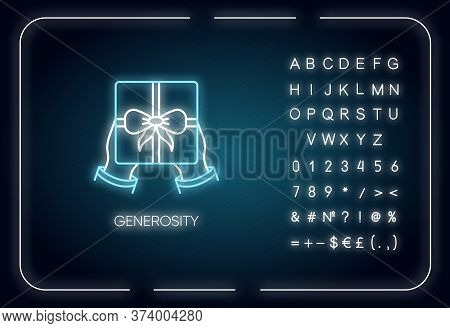 Generosity Neon Light Icon. Outer Glowing Effect. Sign With Alphabet, Numbers And Symbols. Birthday,