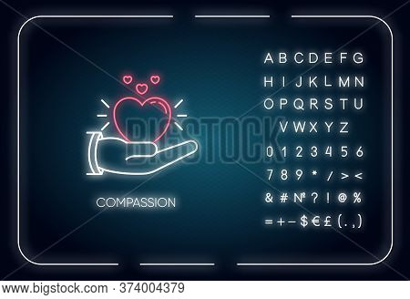 Compassion Neon Light Icon. Outer Glowing Effect. Sign With Alphabet, Numbers And Symbols. Emotional