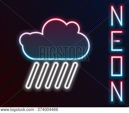 Glowing Neon Line Cloud With Rain Icon Isolated On Black Background. Rain Cloud Precipitation With R
