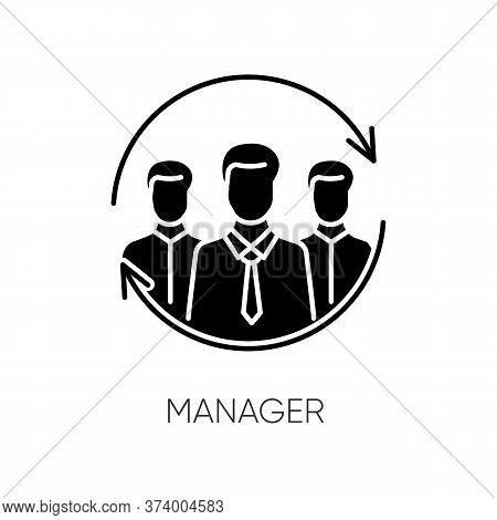 Manager Black Glyph Icon. Business Organization, Corporate Management Silhouette Symbol On White Spa