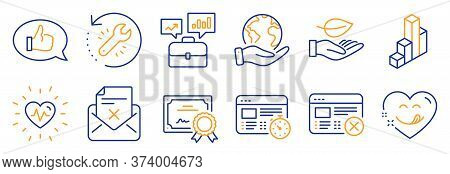 Set Of Business Icons, Such As Heartbeat, Reject Web. Certificate, Save Planet. Business Portfolio,
