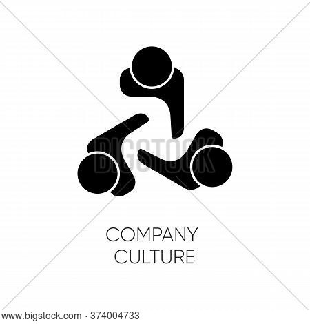 Company Culture Black Glyph Icon. Internal Corporate Ideology, Professional Business Ethics Silhouet