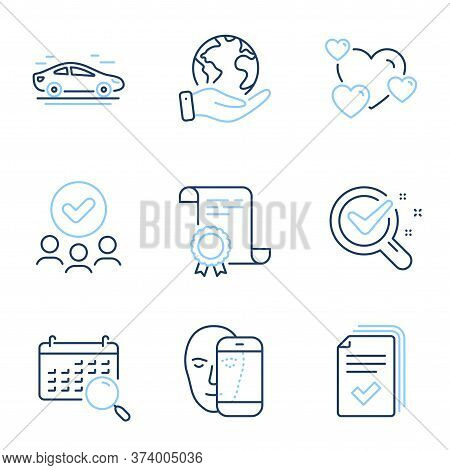 Chemistry Lab, Face Biometrics And Handout Line Icons Set. Diploma Certificate, Save Planet, Group O