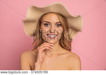 Close Up Beautiful Girl, Young Woman Portrait. Attractive Woman Profile. Woman In Straw Hat On Her H