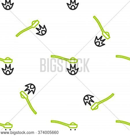 Line Heroin In A Spoon Icon Isolated Seamless Pattern On White Background. Concept Of Drug Addiction