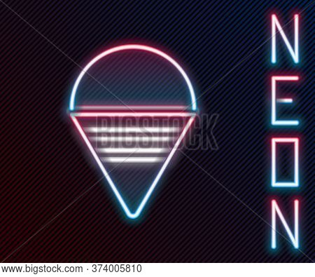 Glowing Neon Line Fire Cone Bucket Icon Isolated On Black Background. Metal Cone Bucket Empty Or Wit