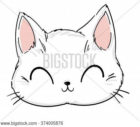 Cute Cat Sketch Vector Illustration, Print Design Cat, Children Print On T-shirt. Hand Drawn Vector
