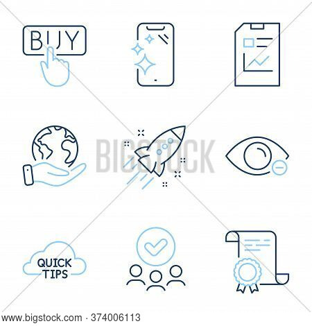 Myopia, Report Document And Quick Tips Line Icons Set. Diploma Certificate, Save Planet, Group Of Pe