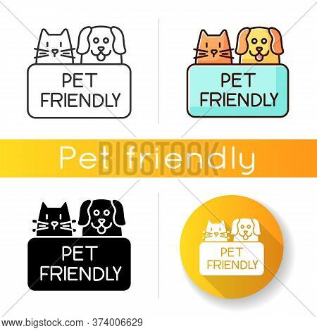 Cat And Dog Friendly Area Icon. Puppy And Kitten Permitted Zone. Domestic Animals Allowed Territory,