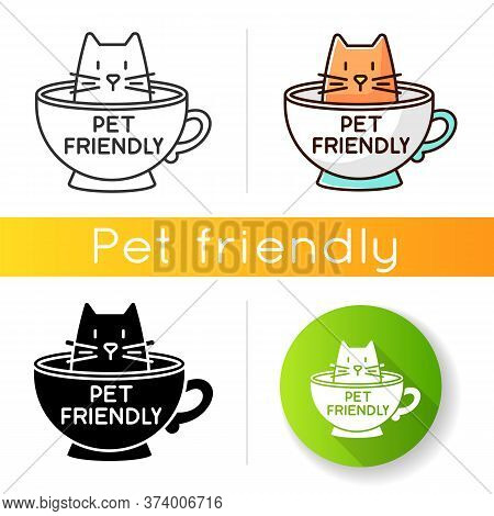 Cat Friendly Cafe Icon. Kitten Permitted Food Service Establishment. Domestic Animals Allowed Territ