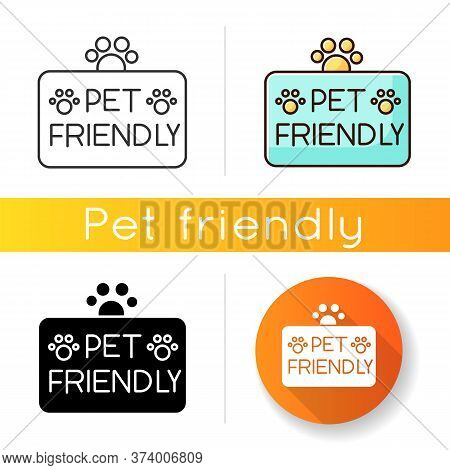 Pet Friendly Territory Icon. Grooming Salon, Domestic Animals Care Service. Cats And Dogs Permitted