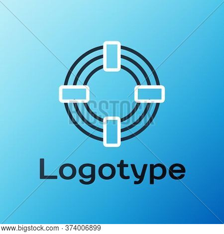 Line Lifebuoy Icon Isolated On Blue Background. Life Saving Floating Lifebuoy For Beach, Rescue Belt
