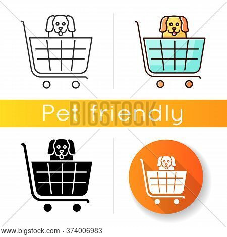 Dogs Allowed Supermarket, Petshop Icon. Doggy Permitted Shop, Domestic Animals Welcome Store. Happy