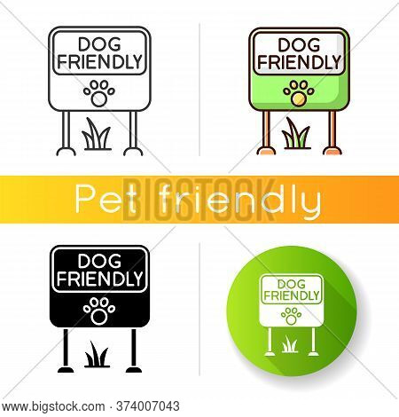 Dog Friendly Place Icon. Doggy Allowed Park And Square Mark. Domestic Puppies Permitted Territory, L