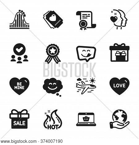 Set Of Holidays Icons, Such As Hot Sale, Roller Coaster. Certificate, Approved Group, Save Planet. L