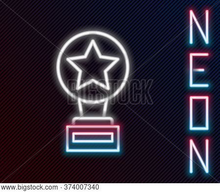 Glowing Neon Line Movie Trophy Icon Isolated On Black Background. Academy Award Icon. Films And Cine