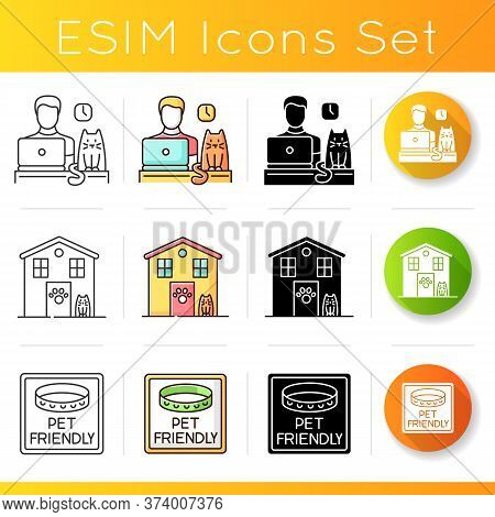 Pet Friendly Companies Icons Set. Four-legged Friends Allowed Hotels And Offices. Animals Welcome, C