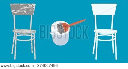 Old Shabby Chair, Paint Can, Brush, White New Chair - Vector. Banner. Diy Home Repair.