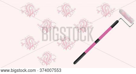 Paint Roller - Drawing A Floral Stencil On The Wall - Vector. Banner. Diy Home Repair.