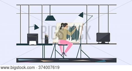 Woman Designer Performs Work On An Easel - Vector. Banner. Diy Home Repair.interior. Work From Home