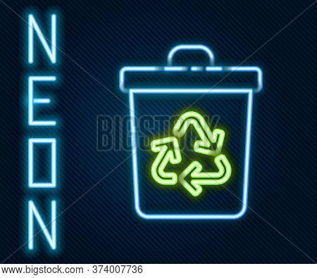 Glowing Neon Line Recycle Bin With Recycle Symbol Icon Isolated On Black Background. Trash Can Icon.