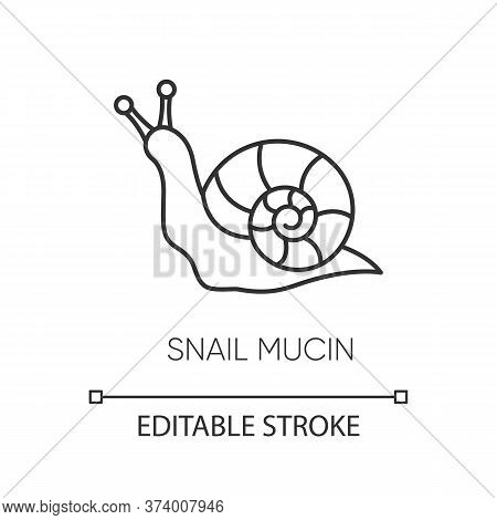 Snail Mucin Pixel Perfect Linear Icon. Skincare Natural Component. Repairing Effect For Skin. Thin L
